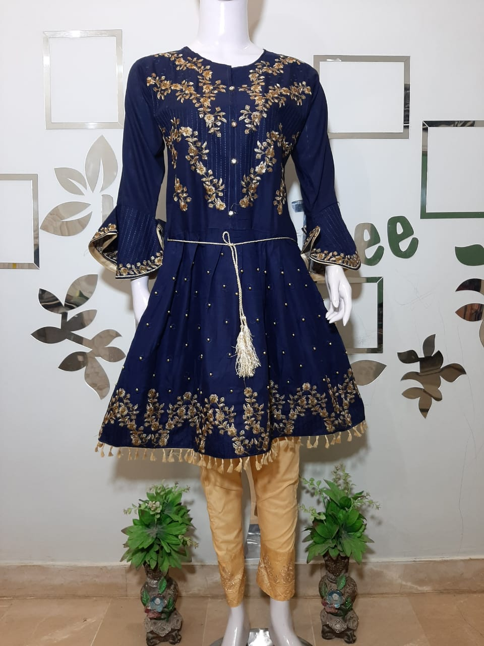 Embroided Navy Blue Three Piece suit Article TS-100205
