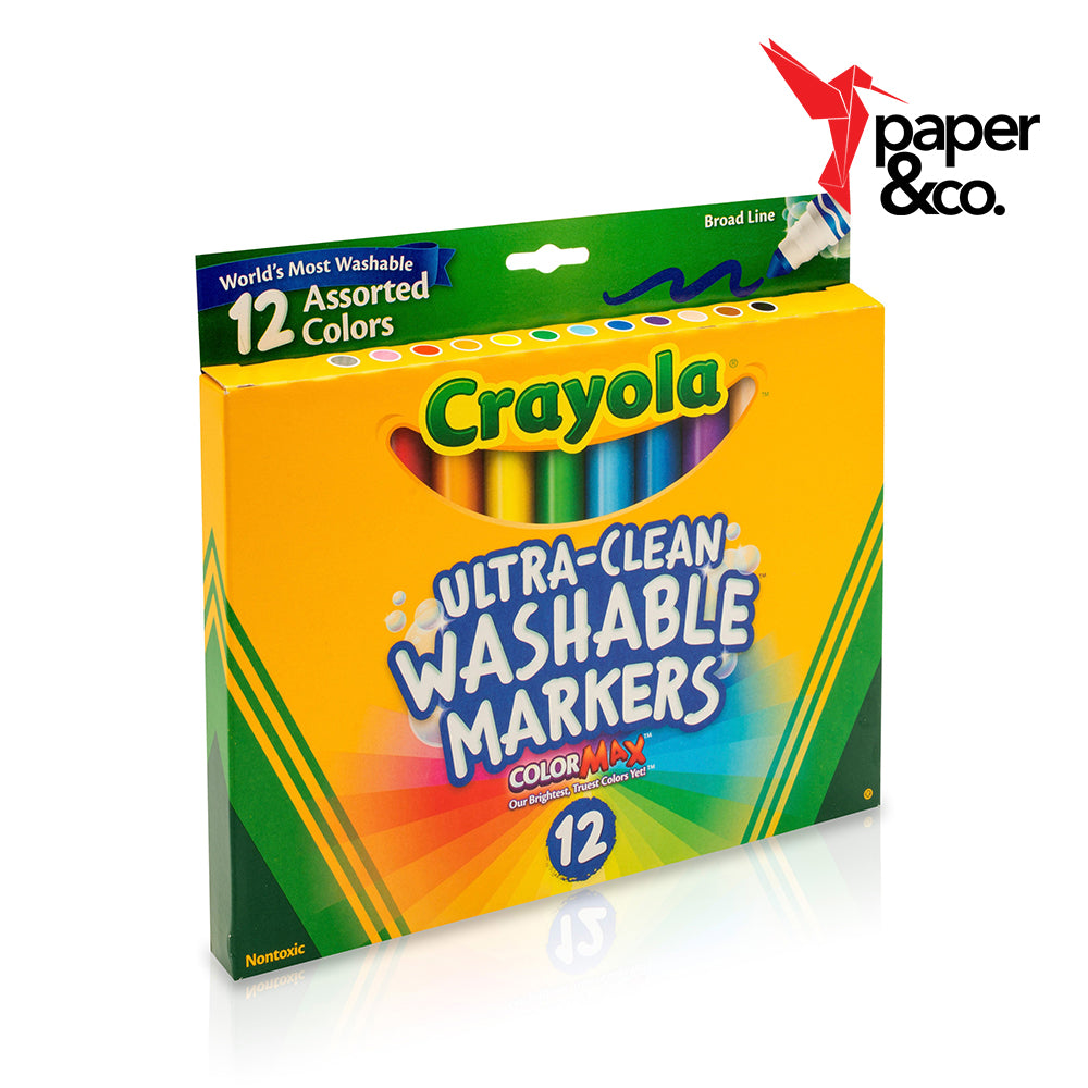 Paper&Co. - Crayola Colored Ultra-Clean Washable Markers 12ct Broad Line