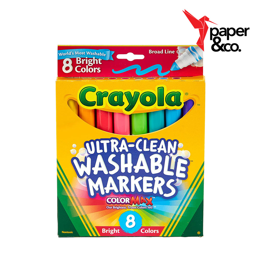 Paper&Co. - Crayola Ultra-Clean Washable Markers Bright Colors 8ct Broad Line