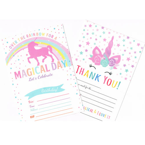 Unicorn Birthday Party Invitations and Thank you card