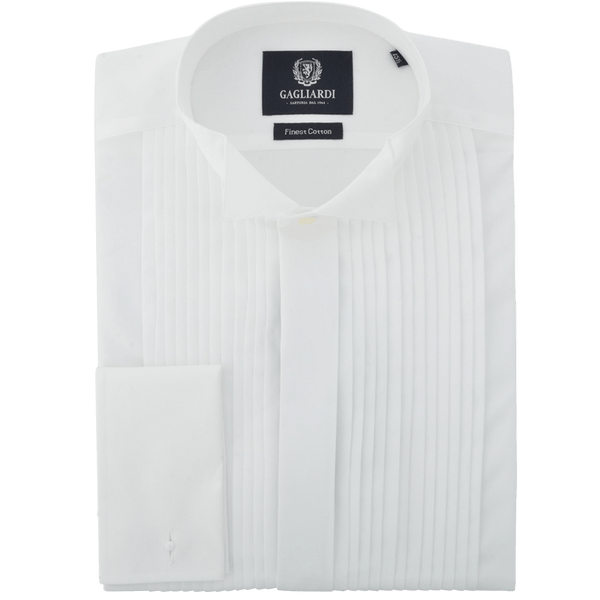 White Pleated With Traditional Wing Collar & Fly Front Dress Shirt - Gagliardi
