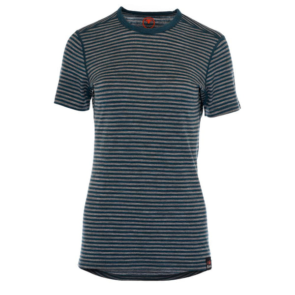 Womens Merino 150 Short Sleeve Crew (Stripe Petrol/Charcoal)
