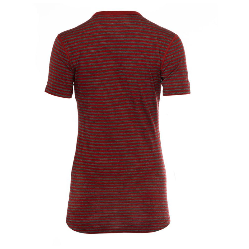 Womens Merino 150 Short Sleeve Crew (Stripe Red/Smoke)