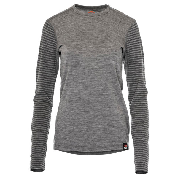 Womens Merino 180 Long Sleeve Crew (Stripe Charcoal/Smoke)