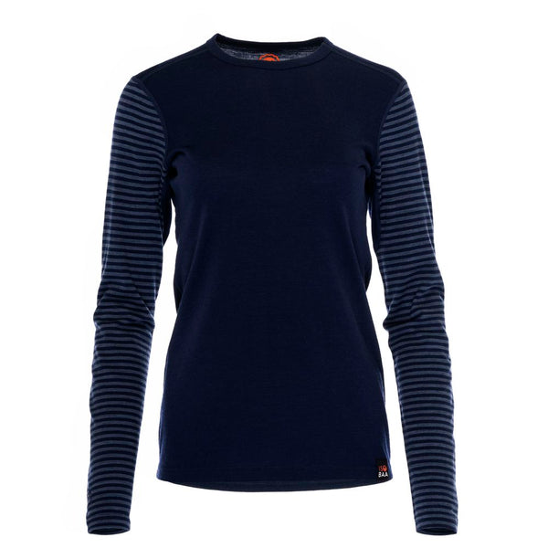 Womens Merino 180 Long Sleeve Crew (Stripe Navy/Denim)
