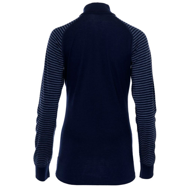 Womens Merino 200 Long Sleeve Zip Neck (Stripe Navy/Denim)