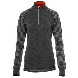 Womens Merino 200 Long Sleeve Zip Neck (Stripe Smoke/Charcoal)