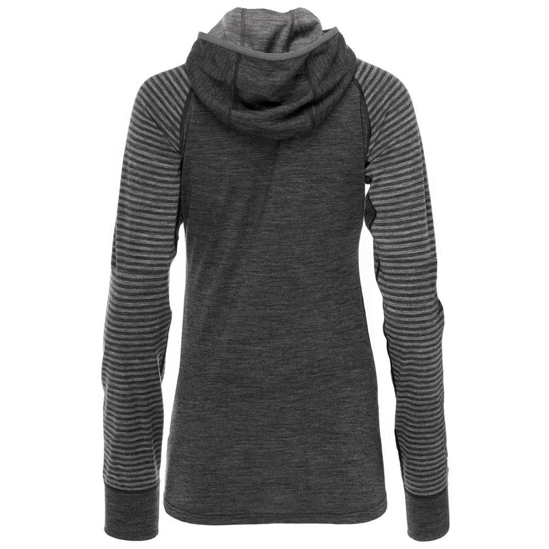 Womens Merino 200 Zip Neck Hoodie (Stripe Smoke/Charcoal)