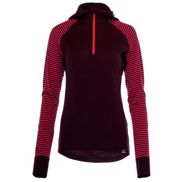 Womens Merino 200 Zip Neck Hoodie (Stripe Wine/Fuchsia)