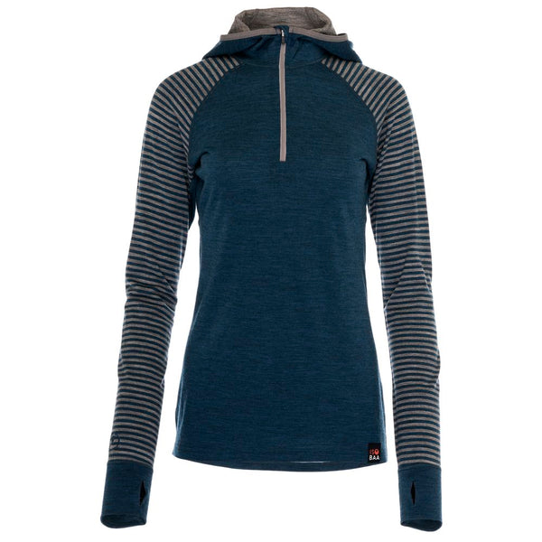 Womens Merino 200 Zip Neck Hoodie (Stripe Petrol/Charcoal)