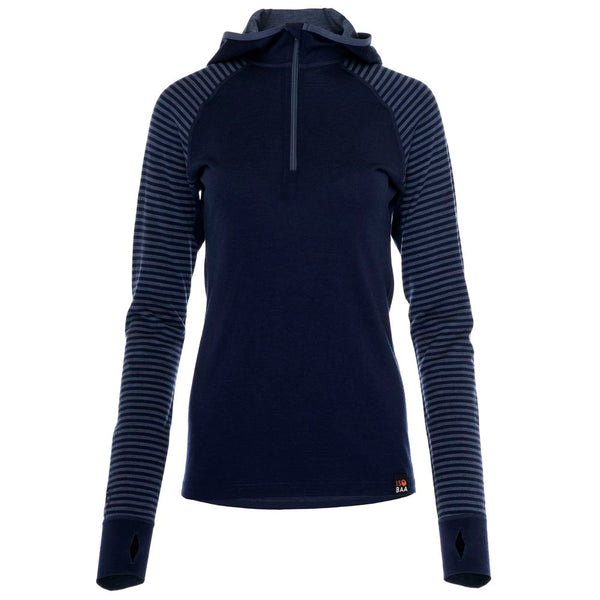 PRE-ORDER - Womens Merino 200 Zip Neck Hoodie (Stripe Navy/Denim)