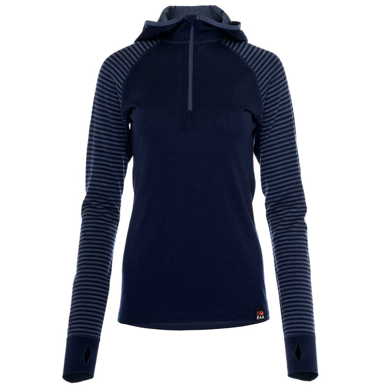 Womens Merino 200 Zip Neck Hoodie (Stripe Navy/Denim)
