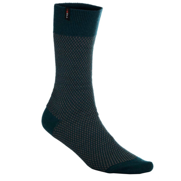 Merino Blend Moss Stitch Socks (Petrol/Smoke)
