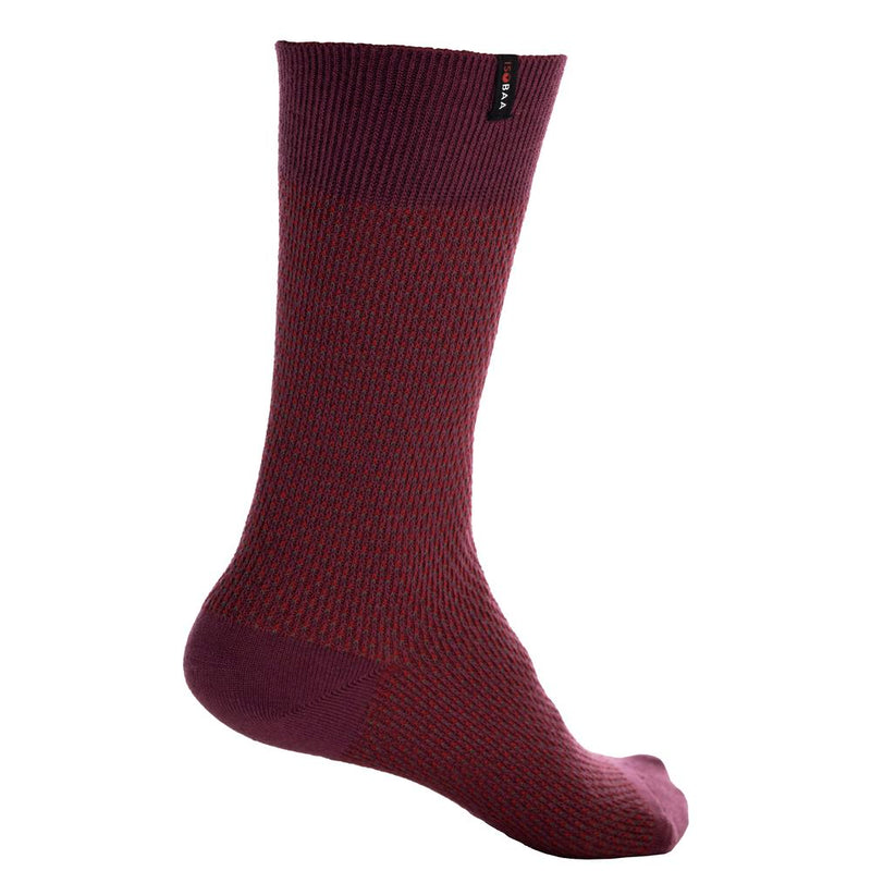 Merino Blend Moss Stitch Socks (Wine/Red)