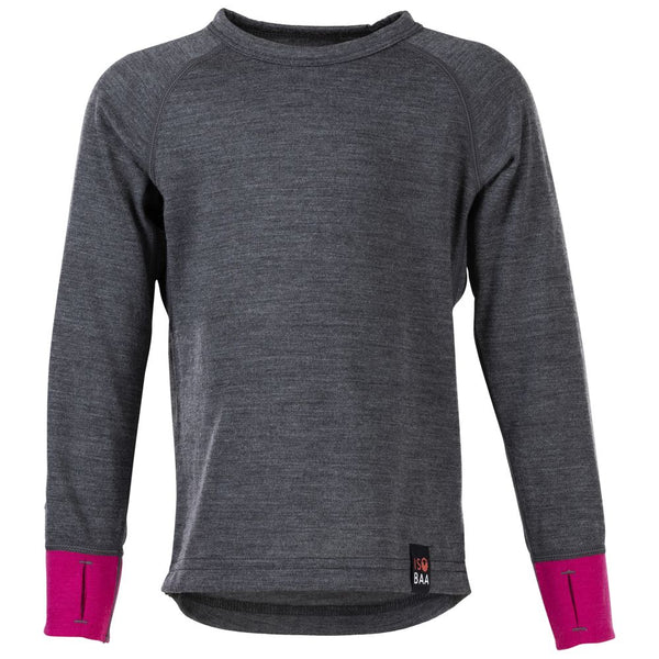 Kids Merino Blend 200 Long Sleeve Crew (Smoke/Fuchsia)