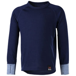 Kids Merino Blend 200 Long Sleeve Crew (Navy/Sky)