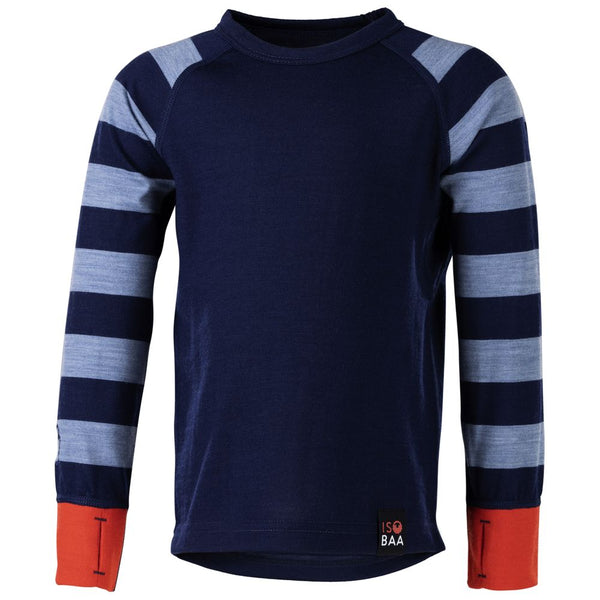 Kids Merino Blend 200 Long Sleeve Crew (Stripe Navy/Sky)
