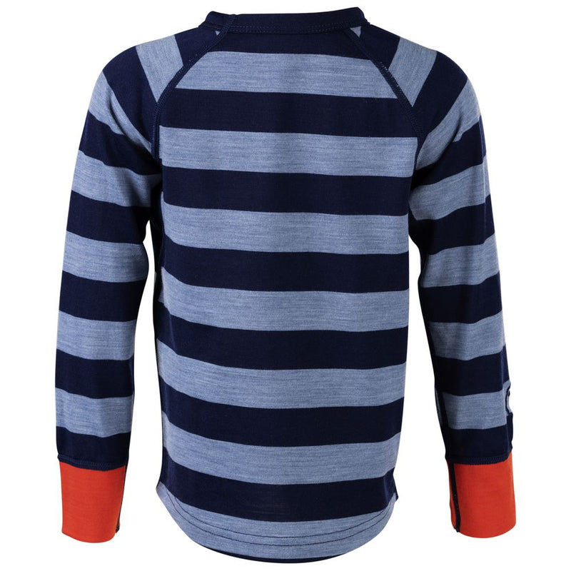 Kids Merino Blend 200 Long Sleeve Crew (Stripey Navy/Sky)