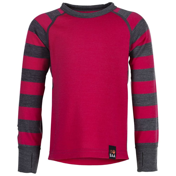 Kids Merino Blend 200 Long Sleeve Crew (Stripe Fuchsia/Smoke)