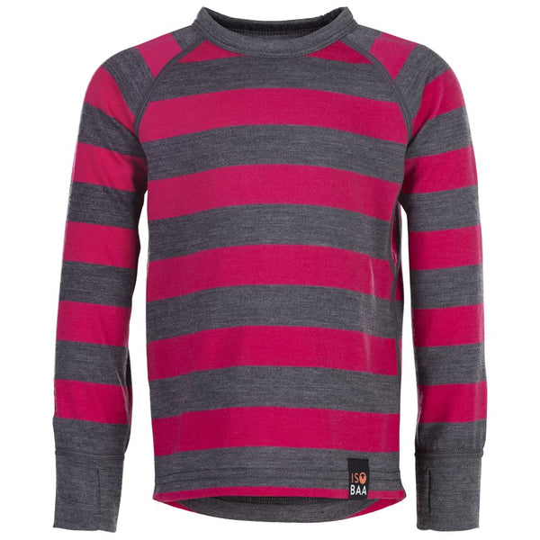 Kids Merino Blend 200 Long Sleeve Crew (Stripe Smoke/Fuchsia)