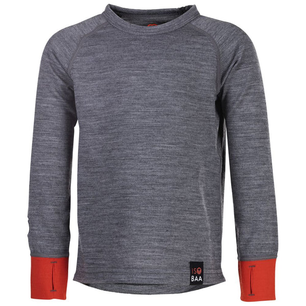 Kids Merino Blend 200 Long Sleeve Crew (Charcoal/Orange)