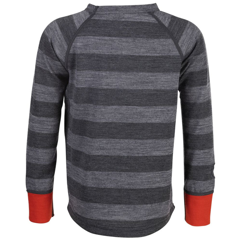 Kids Merino Blend 200 Long Sleeve Crew (Stripe Charcoal/Smoke)