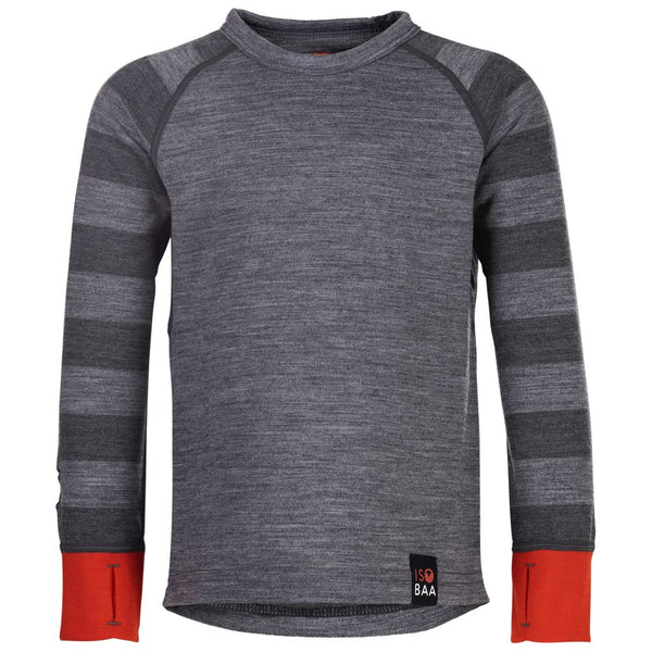 Kids Merino Blend 200 Long Sleeve Crew (Charcoal/Smoke)