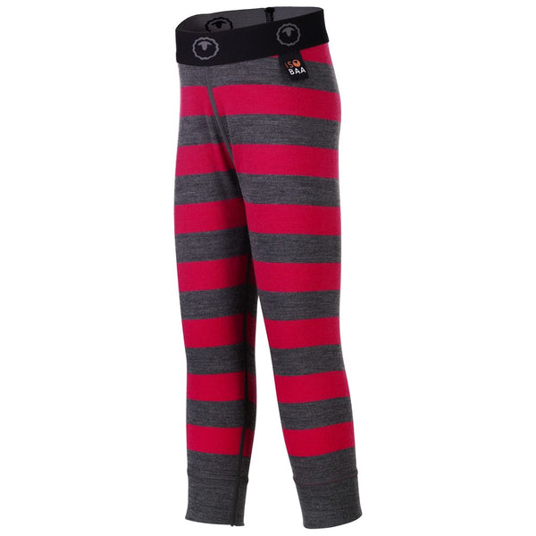 Kids Merino Blend 200 Leggings (Stripe Smoke/Fuchsia)