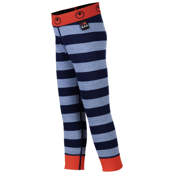 Kids Merino Blend 200 Leggings (Stripe Navy/Sky)