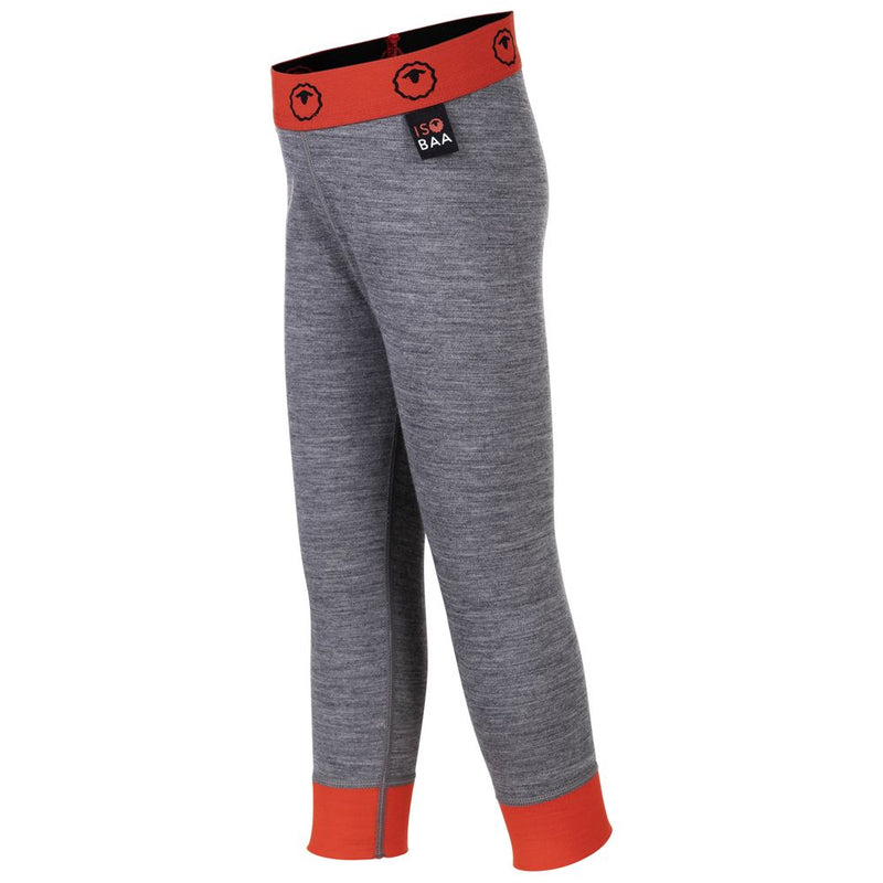Kids Merino Blend 200 Leggings (Charcoal/Orange)