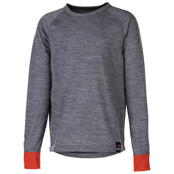 Junior Merino Blend 200 Long Sleeve Crew (Charcoal/Orange)