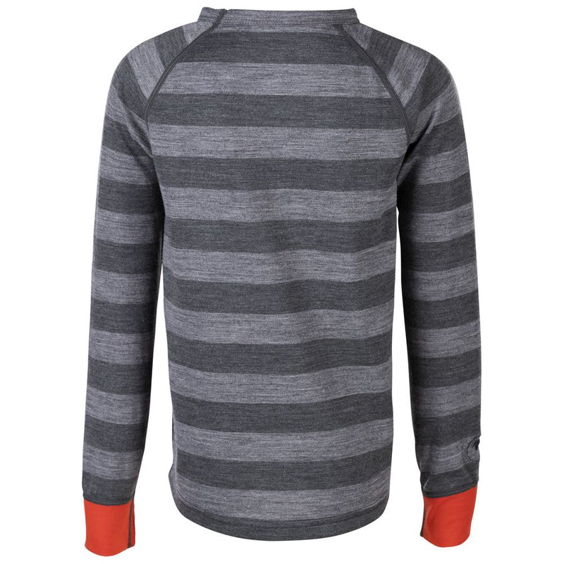 Junior Merino Blend 200 Long Sleeve Crew (Stripe Charcoal/Smoke)