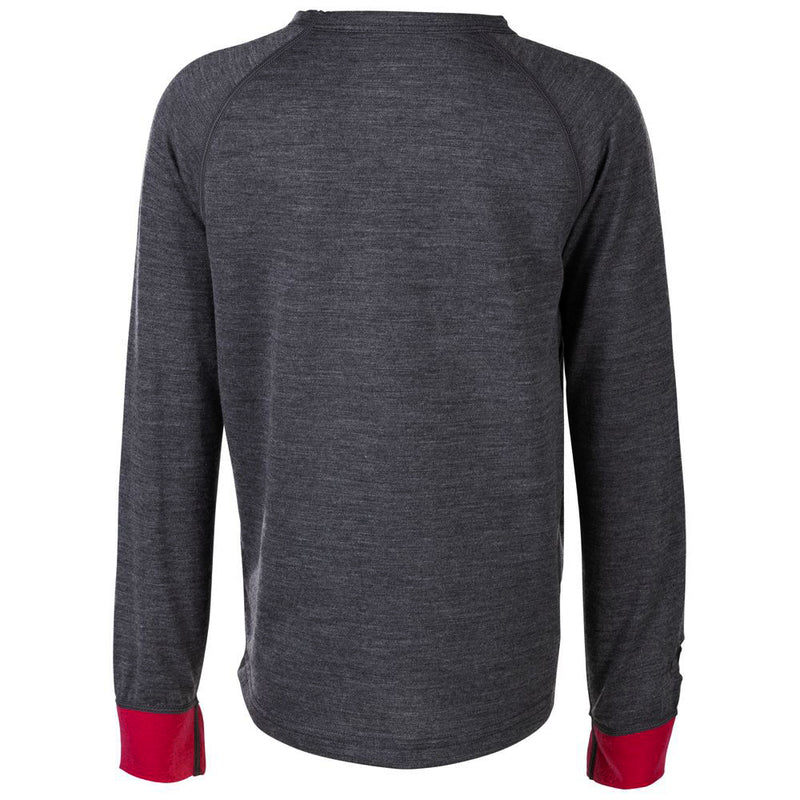 Junior Merino Blend 200 Long Sleeve Crew (Smoke/Fuchsia)