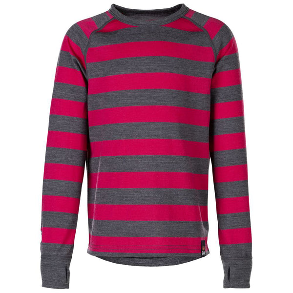 Junior Merino Blend 200 Long Sleeve Crew (Stripe Smoke/Fuchsia)