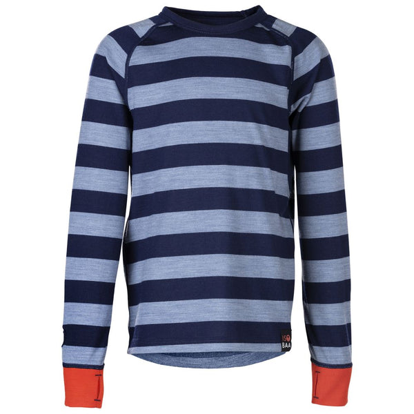 Junior Merino Blend 200 Long Sleeve Crew (Stripe Navy/Sky)