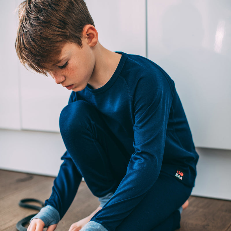 Junior Merino Blend 200 Long Sleeve Crew (Navy/Sky)