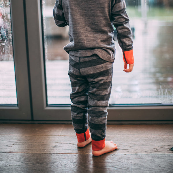 Kids Merino Blend 200 Leggings (Stripe Charcoal/Smoke)