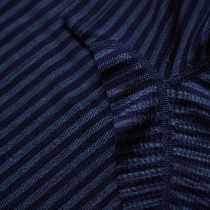 Womens Merino 150 Short Sleeve Crew (Stripe Navy/Denim)