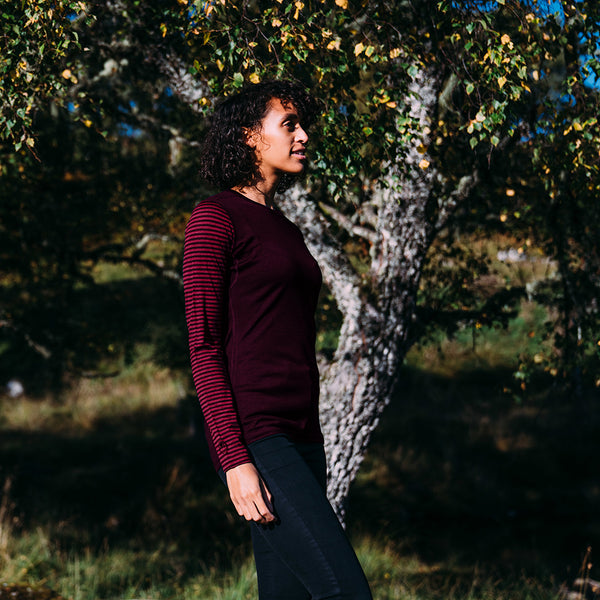 Womens Merino 180 Long Sleeve Crew (Stripe Wine/Fuchsia)