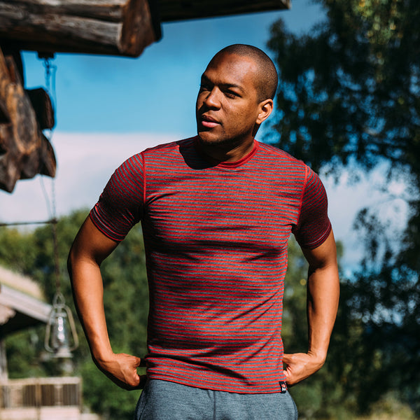 Mens Merino 150 Short Sleeve Crew (Stripe Red/Smoke)