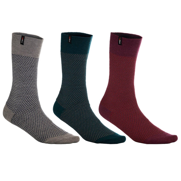 Merino Blend Moss Stitch Socks (3 Pack - Wine/Charcoal/Petrol)