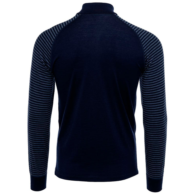 Mens Merino 200 Long Sleeve Zip Neck (Stripe Navy/Denim)