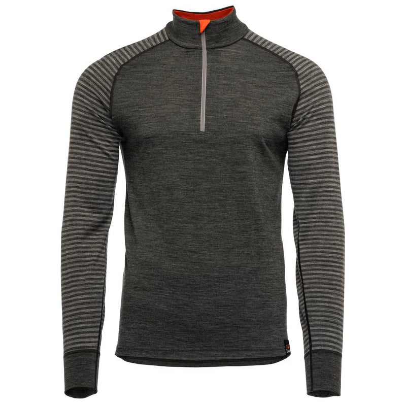 Mens Merino 200 Long Sleeve Zip Neck (Stripe Smoke/Charcoal)