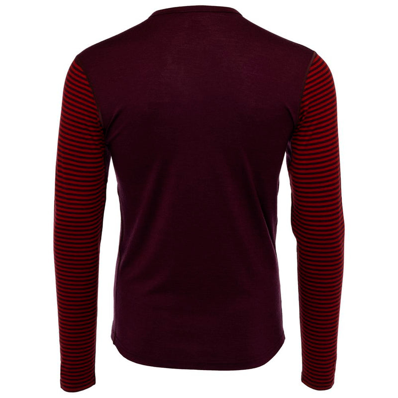 Mens Merino 180 Long Sleeve Crew (Stripe Wine/Red)