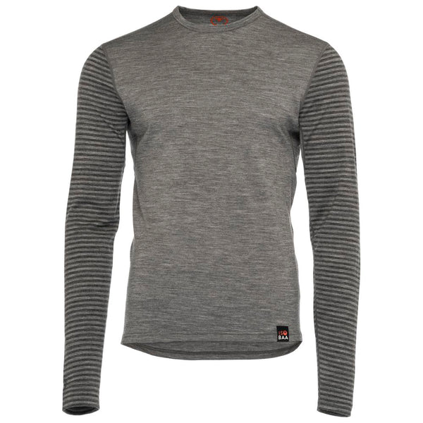 Mens Merino 180 Long Sleeve Crew (Stripe Charcoal/Smoke)