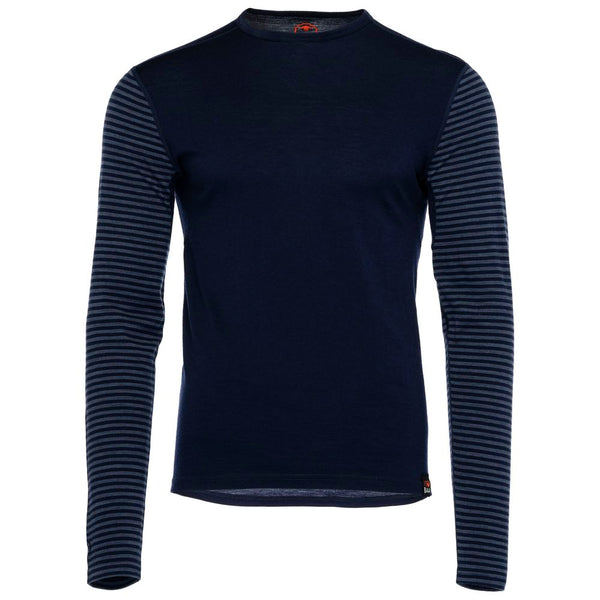 Mens Merino 180 Long Sleeve Crew (Stripe Navy/Denim)