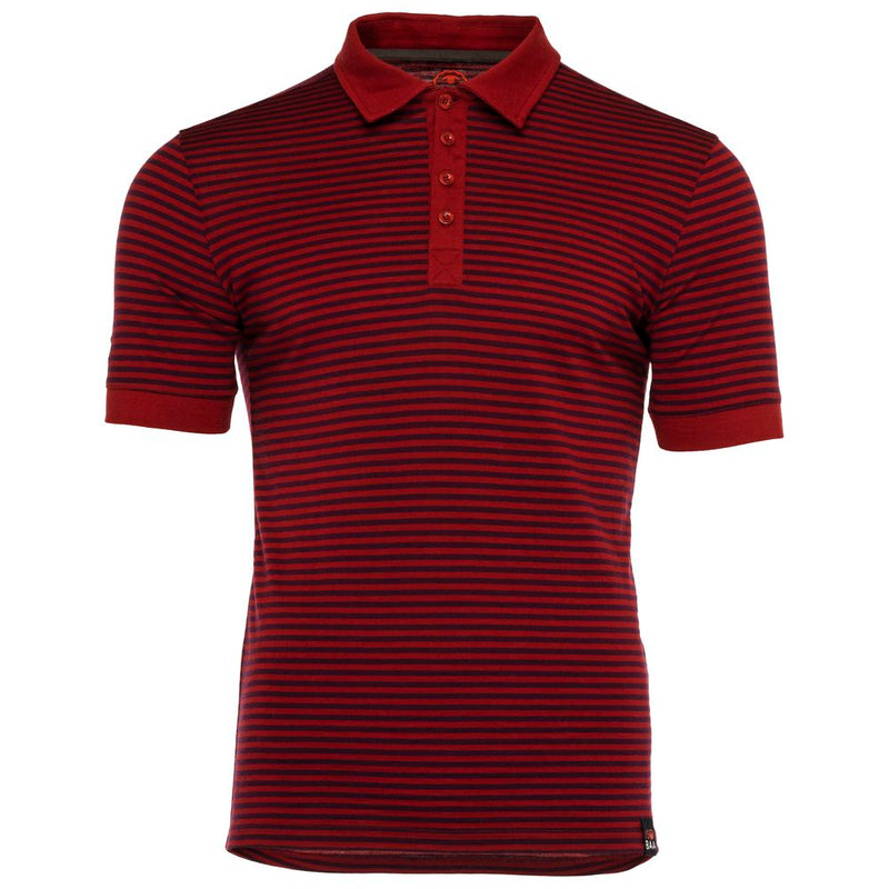 Mens Merino 180 Short Sleeve Polo Shirt (Stripe Red/Wine)