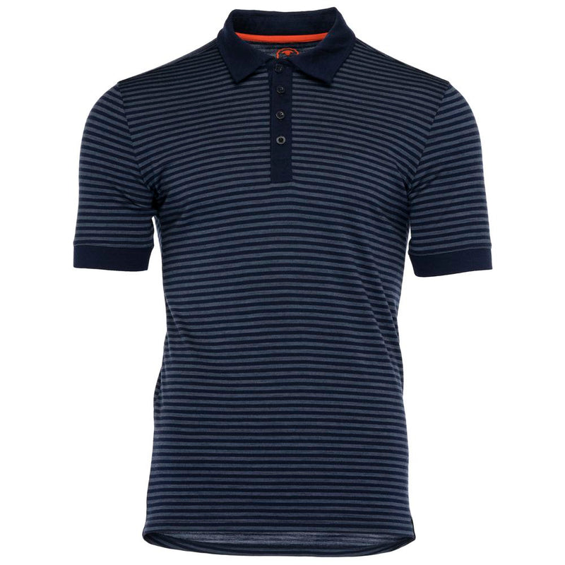 Mens Merino 180 Short Sleeve Polo Shirt (Stripe Navy/Denim)