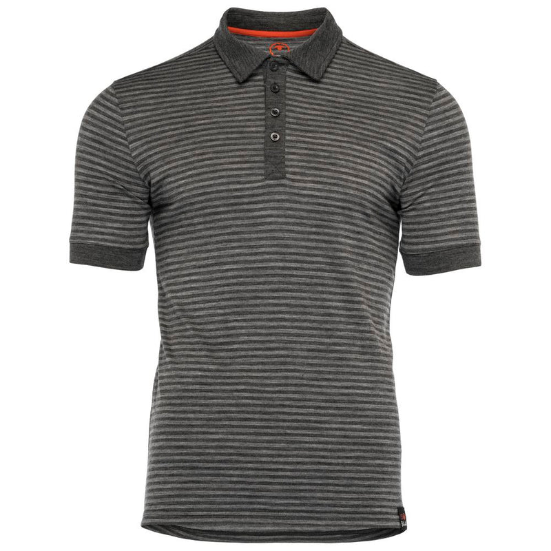 Mens Merino 180 Short Sleeve Polo Shirt (Stripe Smoke/Charcoal)