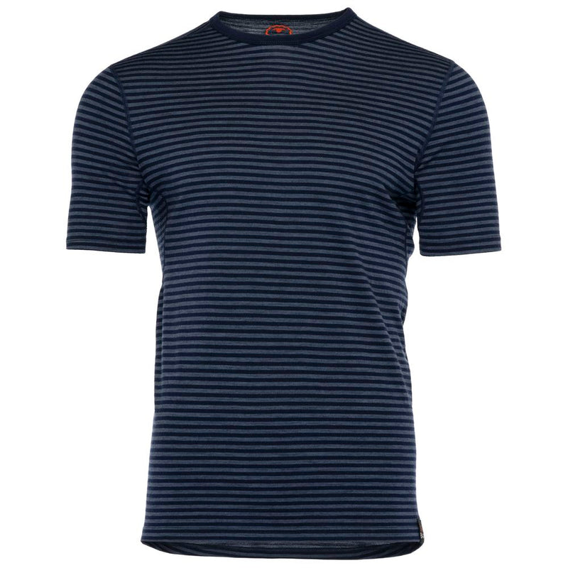 Mens Merino 150 Short Sleeve Crew (Stripe Navy/Denim)